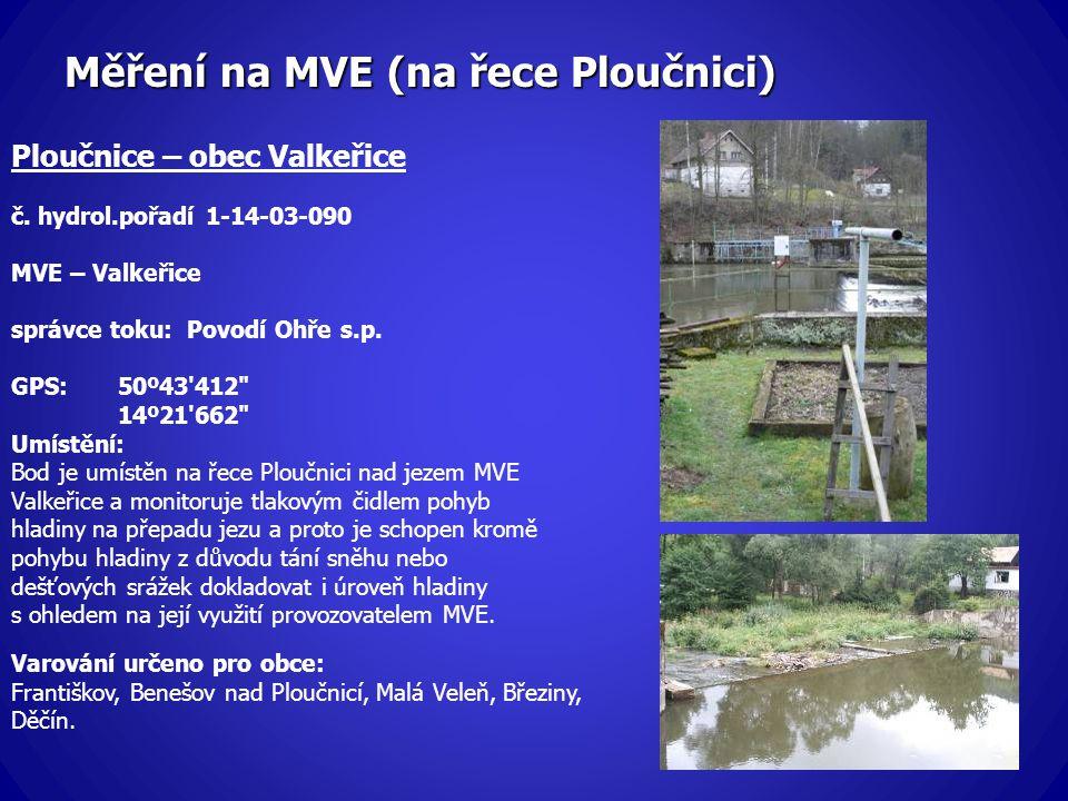 Měření na MVE (na řece Ploučnici) Ploučnice – obec Valkeřice č. hydrol.pořadí 1-14-03-090 MVE – Valkeřice správce toku: Povodí Ohře s.p. GPS:50º43'412