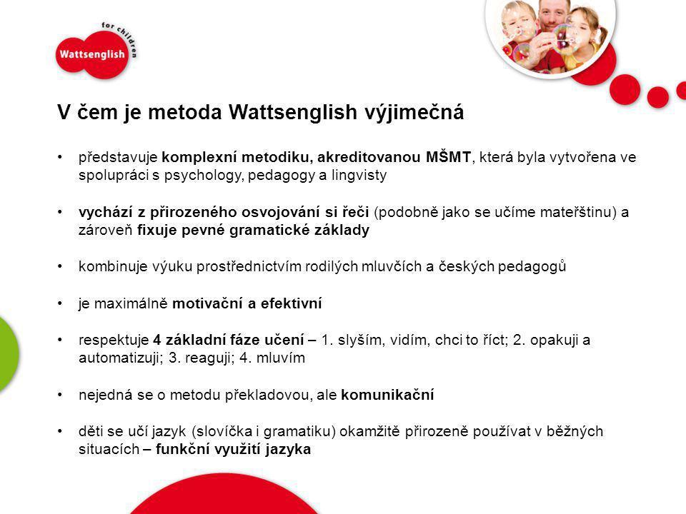 V čem je metoda Wattsenglish výjimečná •představuje komplexní metodiku, akreditovanou MŠMT, která byla vytvořena ve spolupráci s psychology, pedagogy