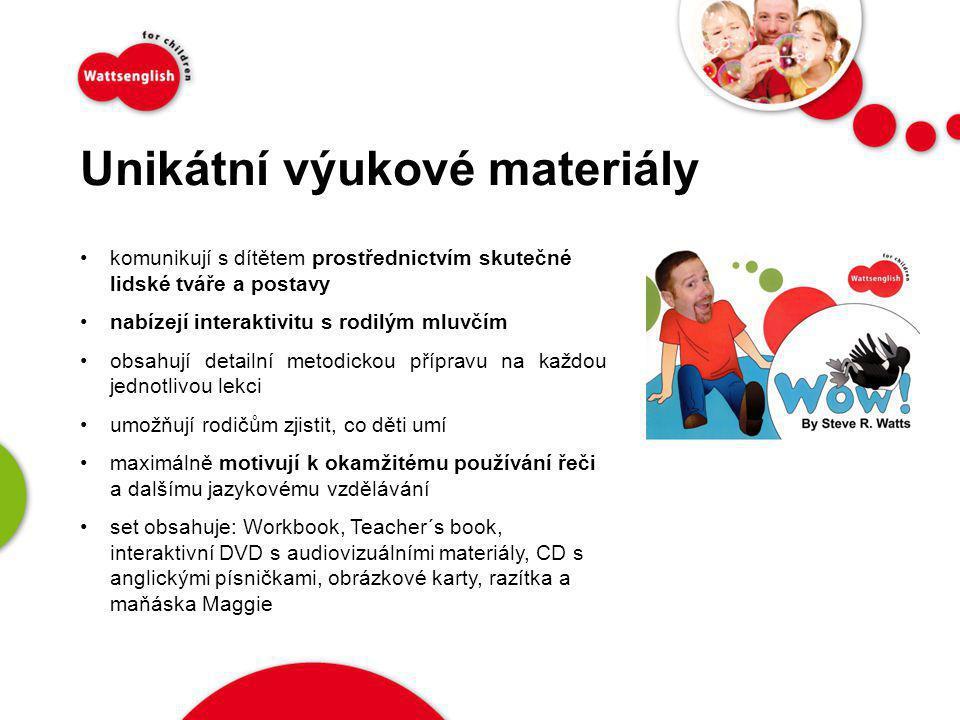 Unikátní výukové materiály •komunikují s dítětem prostřednictvím skutečné lidské tváře a postavy •nabízejí interaktivitu s rodilým mluvčím •obsahují d