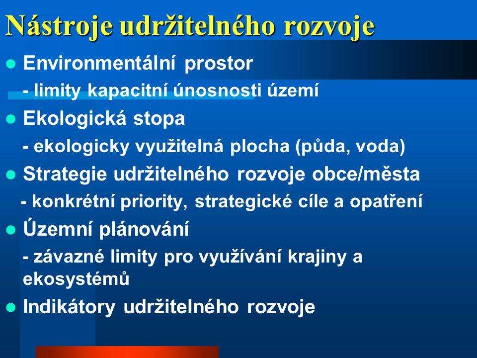 UR (národní úroveň)  1995 - první integrace problematiky udržitelného rozvoje do Státní politiky životního prostředí ČR (následně do aktualizovaných verzí 1999, 2001 a 2004);  1998 - udržitelný rozvoj prioritním cílem Vlády ČR;  1998-2002 - udržitelný rozvoj akcentován v sektorových politikách a strategiích;  2001-2002 - zřizování ad hoc pracovních orgánů k mezinárodní problematice udržitelného rozvoje;  2002 - MŽP ČR iniciovalo jednání k institucionálnímu zajištění udržitelného rozvoje;  30.
