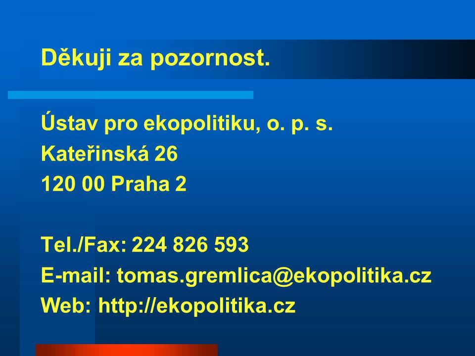Děkuji za pozornost. Ústav pro ekopolitiku, o. p. s. Kateřinská 26 120 00 Praha 2 Tel./Fax: 224 826 593 E-mail: tomas.gremlica@ekopolitika.cz Web: htt