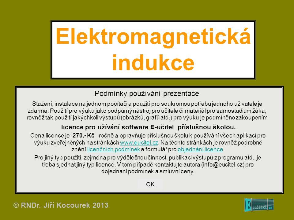 Elektromagnetická indukce Podmínky používání prezentace Stažení, instalace na jednom počítači a použití pro soukromou potřebu jednoho uživatele je zda