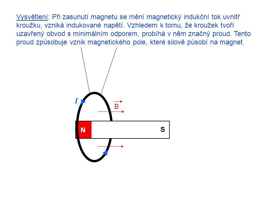 N S Vysvětlení: Při zasunutí magnetu se mění magnetický indukční tok uvnitř kroužku, vzniká indukované napětí. Vzhledem k tomu, že kroužek tvoří uzavř