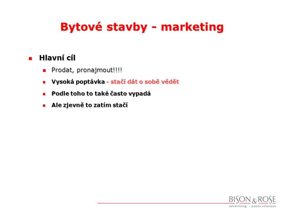 Bytové stavby - marketing  Hlavní cíl  Prodat, pronajmout!!!.