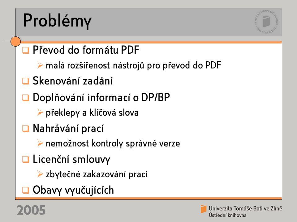 2005 Problémy  Převod do formátu PDF  malá rozšířenost nástrojů pro převod do PDF  Skenování zadání  Doplňování informací o DP/BP  překlepy a klí