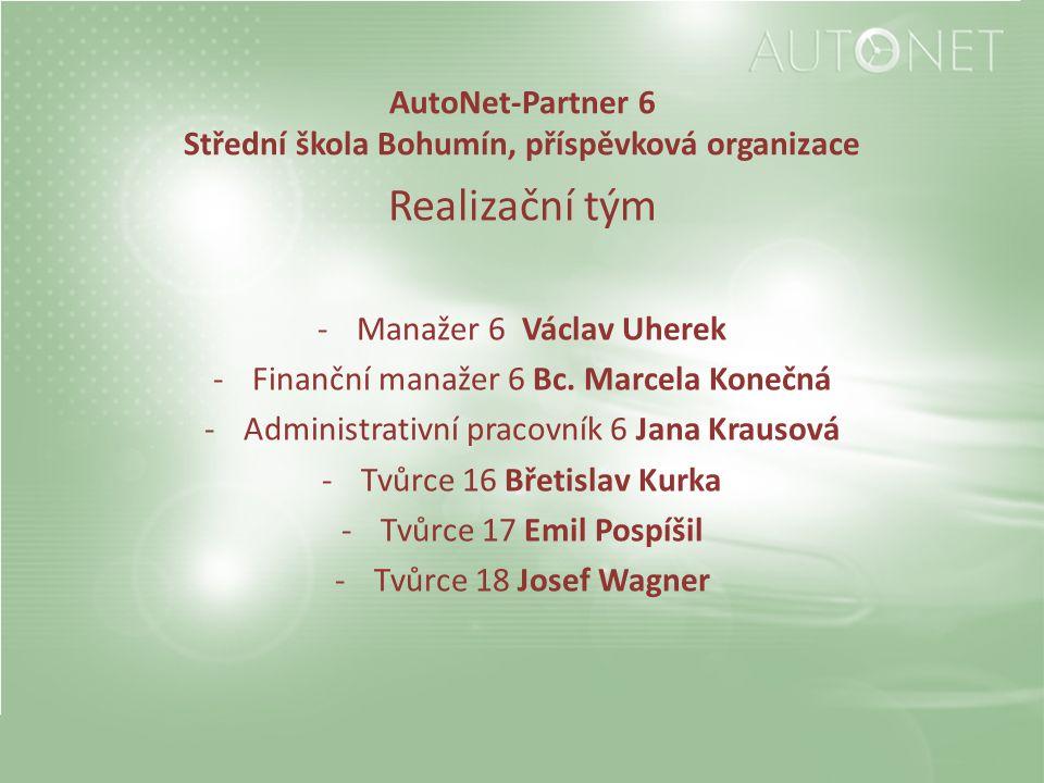 AutoNet-Partner 6 Střední škola Bohumín, příspěvková organizace Realizační tým -Manažer 6 Václav Uherek -Finanční manažer 6 Bc. Marcela Konečná -Admin