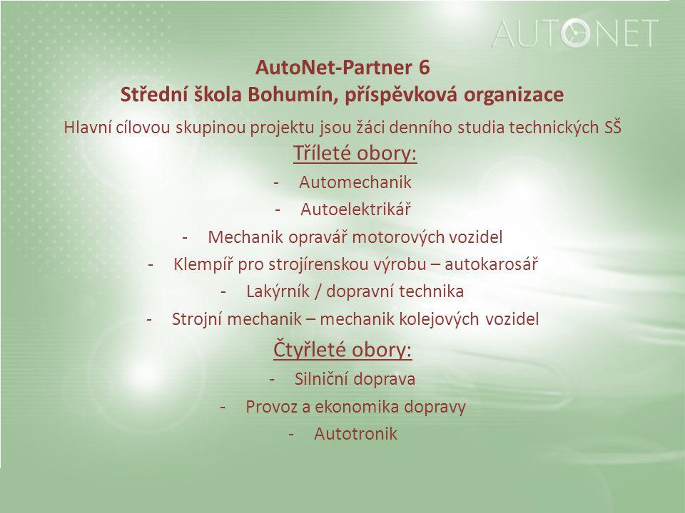 AutoNet-Partner 6 Střední škola Bohumín, příspěvková organizace Hlavní cílovou skupinou projektu jsou žáci denního studia technických SŠ Tříleté obory
