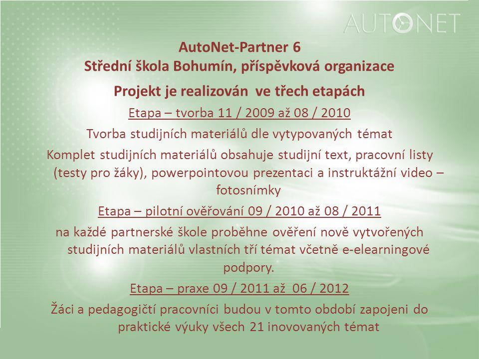 AutoNet-Partner 6 Střední škola Bohumín, příspěvková organizace Projekt je realizován ve třech etapách Etapa – tvorba 11 / 2009 až 08 / 2010 Tvorba st