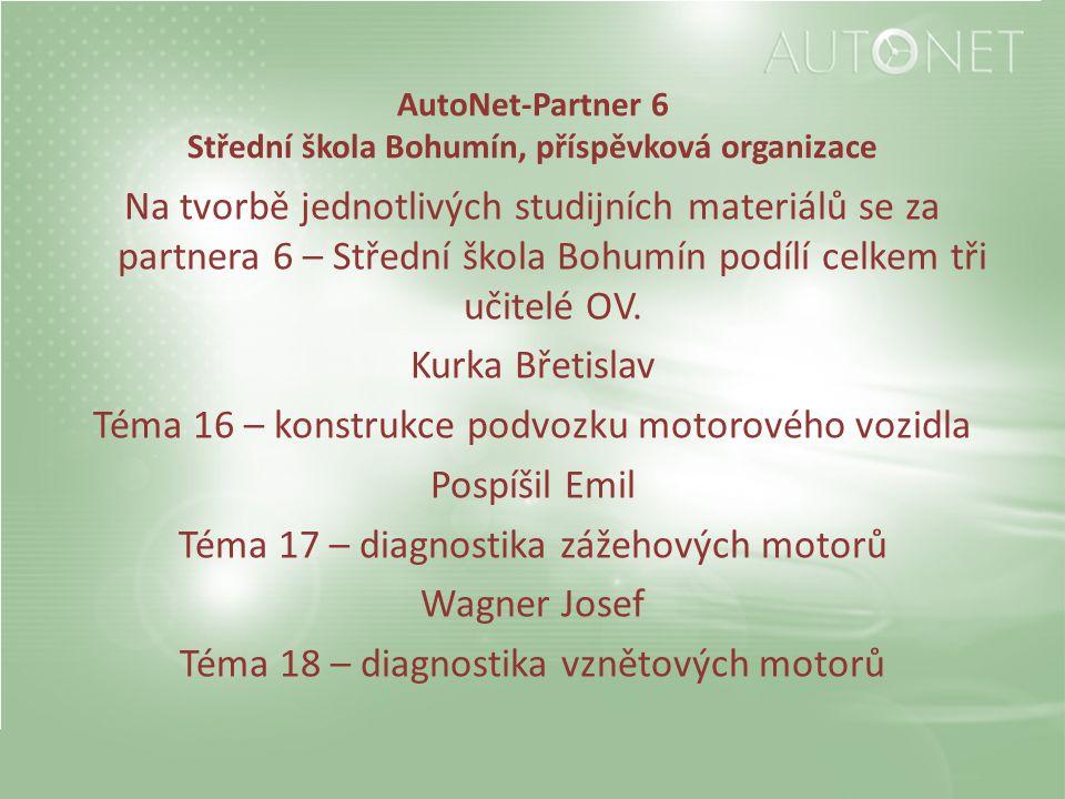 AutoNet-Partner 6 Střední škola Bohumín, příspěvková organizace Na tvorbě jednotlivých studijních materiálů se za partnera 6 – Střední škola Bohumín podílí celkem tři učitelé OV.
