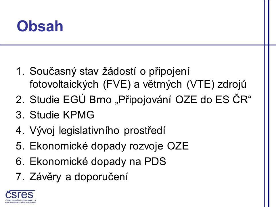 """Obsah 1.Současný stav žádostí o připojení fotovoltaických (FVE) a větrných (VTE) zdrojů 2.Studie EGÚ Brno """"Připojování OZE do ES ČR 3.Studie KPMG 4.Vývoj legislativního prostředí 5.Ekonomické dopady rozvoje OZE 6.Ekonomické dopady na PDS 7.Závěry a doporučení"""