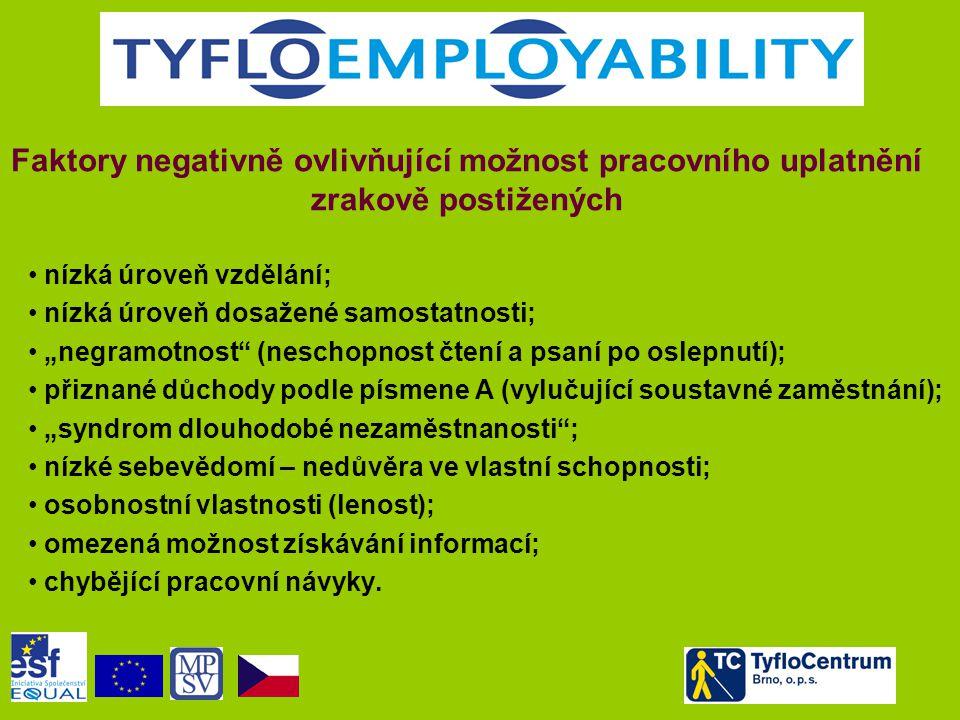 """Faktory negativně ovlivňující možnost pracovního uplatnění zrakově postižených • nízká úroveň vzdělání; • nízká úroveň dosažené samostatnosti; • """"negr"""