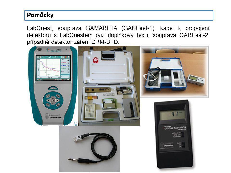 Pomůcky LabQuest, souprava GAMABETA (GABEset-1), kabel k propojení detektoru s LabQuestem (viz doplňkový text), souprava GABEset-2, případně detektor
