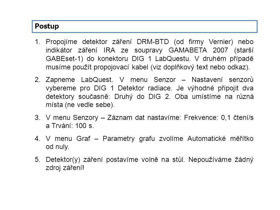 Postup 1.Propojíme detektor záření DRM-BTD (od firmy Vernier) nebo indikátor záření IRA ze soupravy GAMABETA 2007 (starší GABEset-1) do konektoru DIG