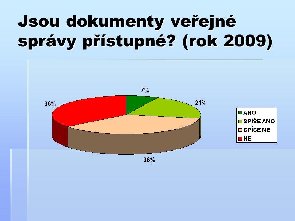 Jsou dokumenty veřejné správy přístupné (rok 2009)