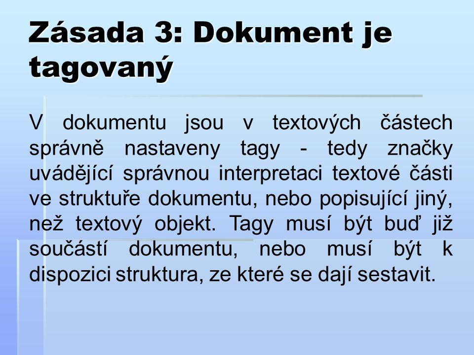 Zásada 3: Dokument je tagovaný V dokumentu jsou v textových částech správně nastaveny tagy - tedy značky uvádějící správnou interpretaci textové části ve struktuře dokumentu, nebo popisující jiný, než textový objekt.