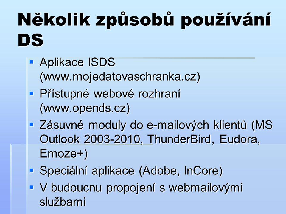 Několik způsobů používání DS  Aplikace ISDS (www.mojedatovaschranka.cz)  Přístupné webové rozhraní (www.opends.cz)  Zásuvné moduly do e-mailových klientů (MS Outlook 2003-2010, ThunderBird, Eudora, Emoze+)  Speciální aplikace (Adobe, InCore)  V budoucnu propojení s webmailovými službami
