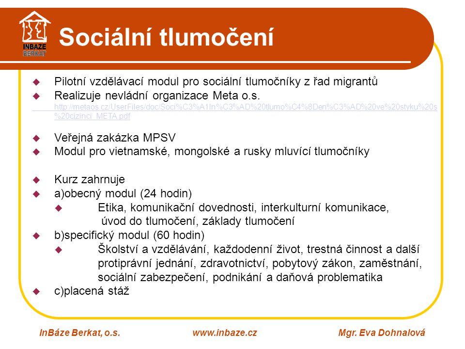 Sociální tlumočení InBáze Berkat, o.s.www.inbaze.czMgr. Eva Dohnalová  Pilotní vzdělávací modul pro sociální tlumočníky z řad migrantů  Realizuje ne