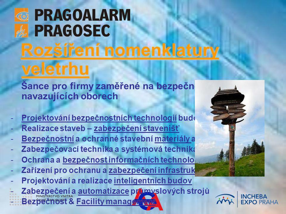 Rozšíření nomenklatury veletrhu Rozšíření nomenklatury veletrhu Šance pro firmy zaměřené na bezpečnost v navazujících oborech - -Projektování bezpečnostních technologií budov - -Realizace staveb – zabezpečení stavenišť - -Bezpečnostní a ochranné stavební materiály a výrobky - -Zabezpečovací technika a systémová technika budov - -Ochrana a bezpečnost informačních technologií - -Zařízení pro ochranu a zabezpečení infrastruktury - -Projektování a realizace inteligentních budov - -Zabezpečení a automatizace průmyslových strojů - -Bezpečnost & Facility management