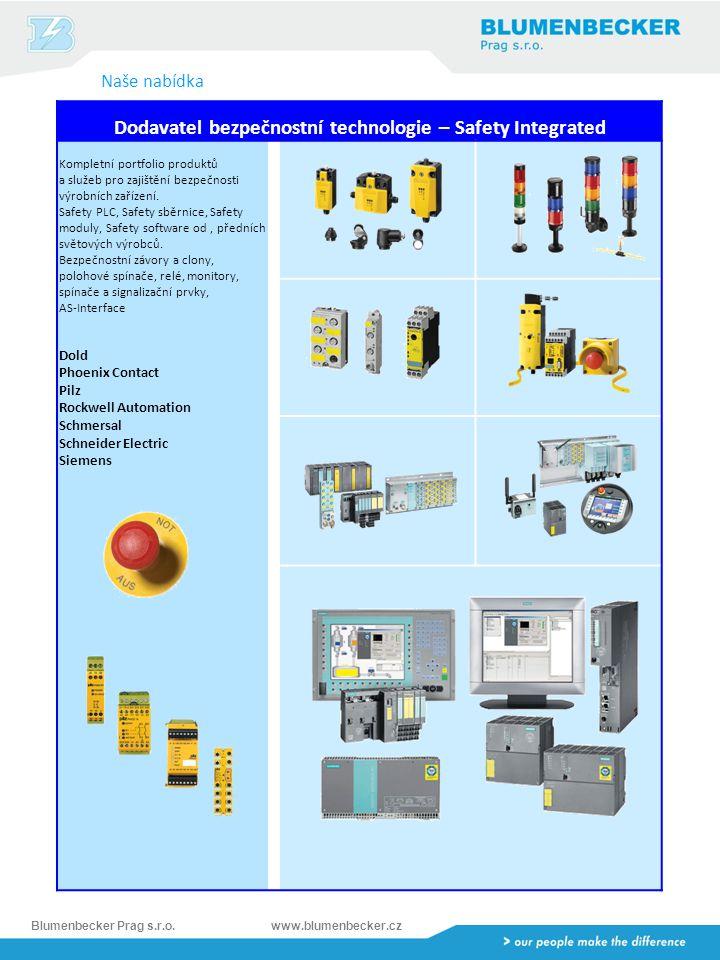 Blumenbecker Prag s.r.o.www.blumenbecker.cz Dodavatel bezpečnostní technologie – Safety Integrated Kompletní portfolio produktů a služeb pro zajištění