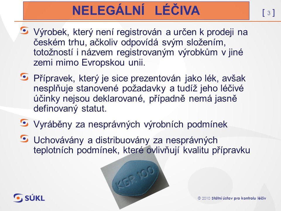 [ 3 ] © 2010 Státní ústav pro kontrolu léčiv Výrobek, který není registrován a určen k prodeji na českém trhu, ačkoliv odpovídá svým složením, totožno