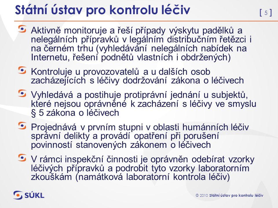[ 5 ] © 2010 Státní ústav pro kontrolu léčiv Státní ústav pro kontrolu léčiv Aktivně monitoruje a řeší případy výskytu padělků a nelegálních přípravků