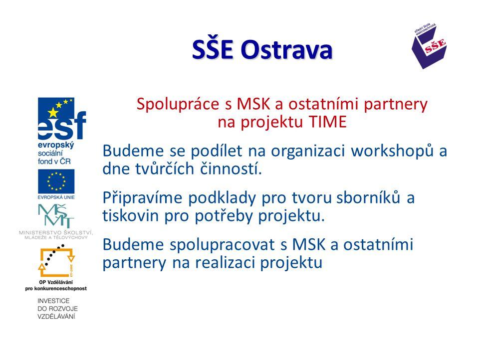 Spolupráce s MSK a ostatními partnery na projektu TIME Budeme se podílet na organizaci workshopů a dne tvůrčích činností.