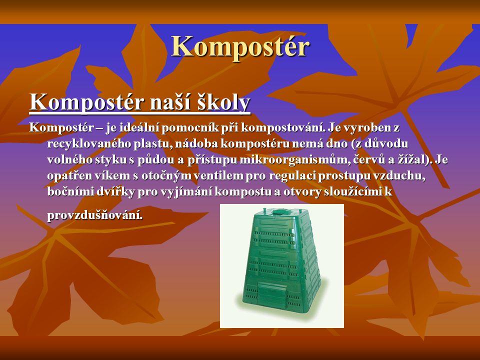 Kompostér Kompostér naší školy Kompostér – je ideální pomocník při kompostování. Je vyroben z recyklovaného plastu, nádoba kompostéru nemá dno (z důvo
