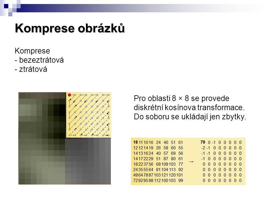 Komprese obrázků Komprese - bezeztrátová - ztrátová Pro oblasti 8 × 8 se provede diskrétní kosínova transformace. Do soboru se ukládají jen zbytky.