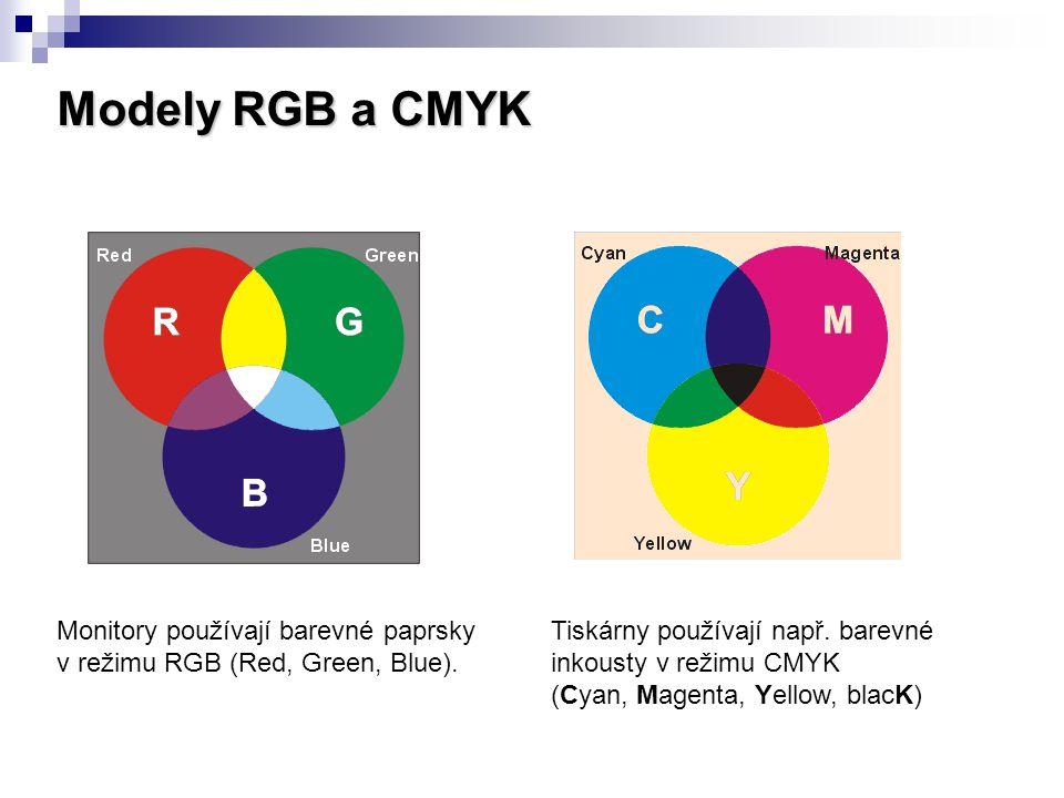 Modely RGB a CMYK Monitory používají barevné paprsky v režimu RGB (Red, Green, Blue). Tiskárny používají např. barevné inkousty v režimu CMYK (Cyan, M