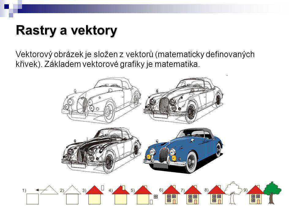Rastry a vektory Vektorový obrázek je složen z vektorů (matematicky definovaných křivek). Základem vektorové grafiky je matematika.