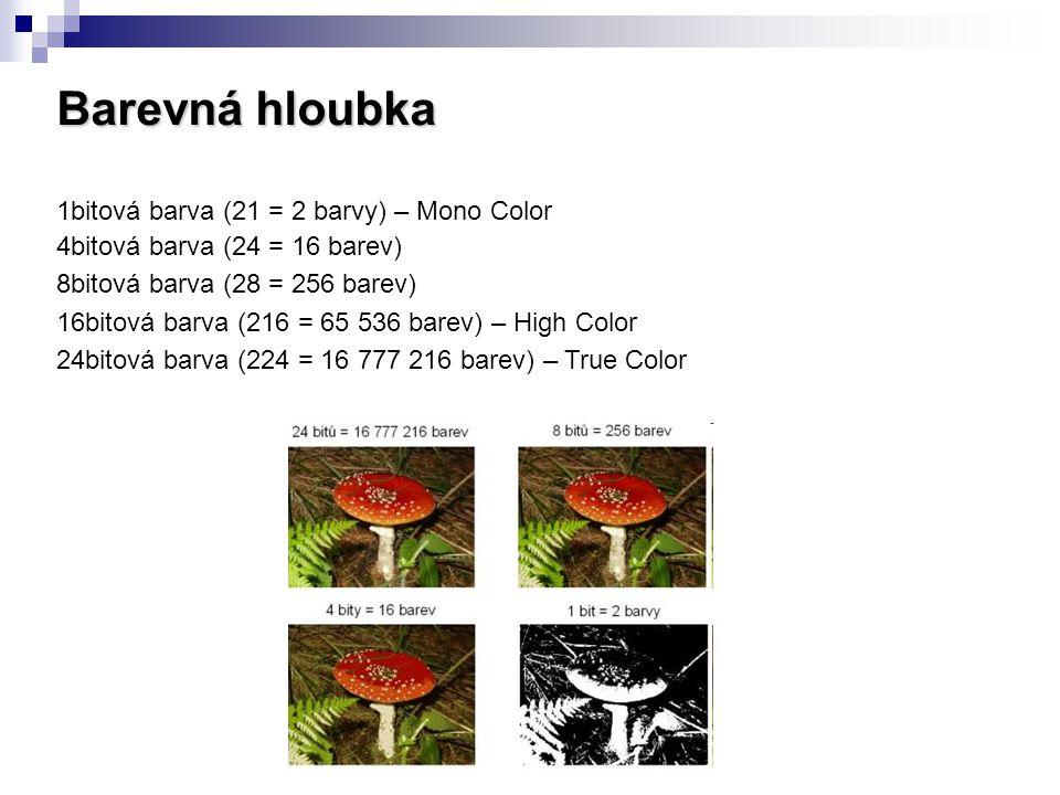 Barevná hloubka 1bitová barva (21 = 2 barvy) – Mono Color 4bitová barva (24 = 16 barev) 8bitová barva (28 = 256 barev) 16bitová barva (216 = 65 536 barev) – High Color 24bitová barva (224 = 16 777 216 barev) – True Color