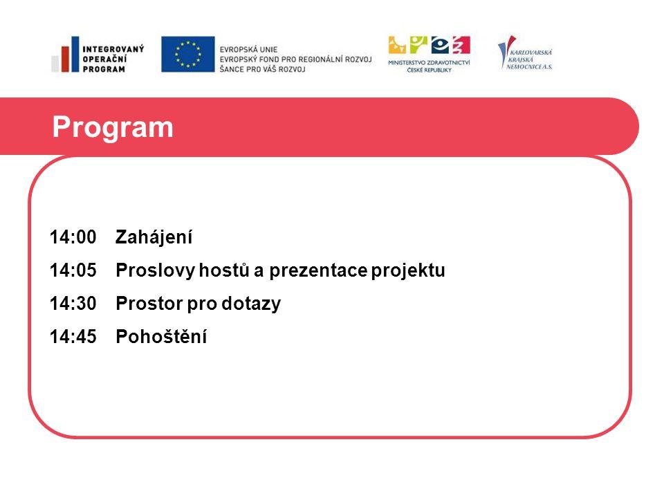 Program 14:00Zahájení 14:05Proslovy hostů a prezentace projektu 14:30Prostor pro dotazy 14:45Pohoštění