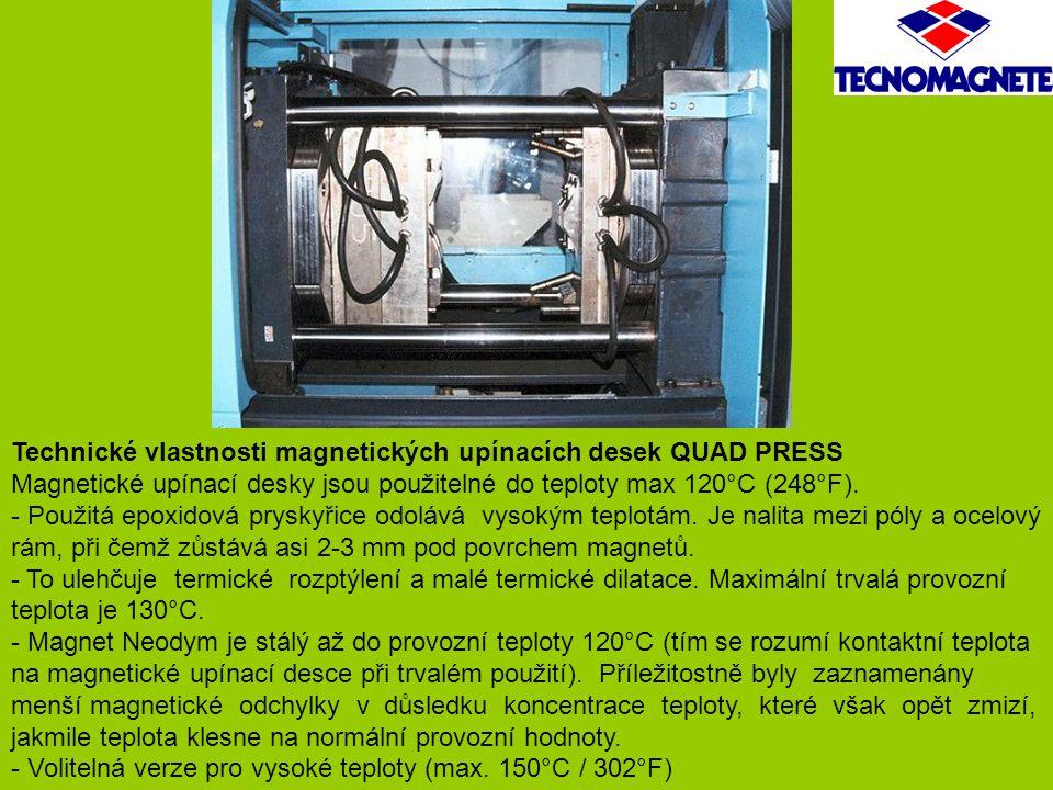Technické vlastnosti magnetických upínacích desek QUAD PRESS Magnetické upínací desky jsou použitelné do teploty max 120°C (248°F). - Použitá epoxidov