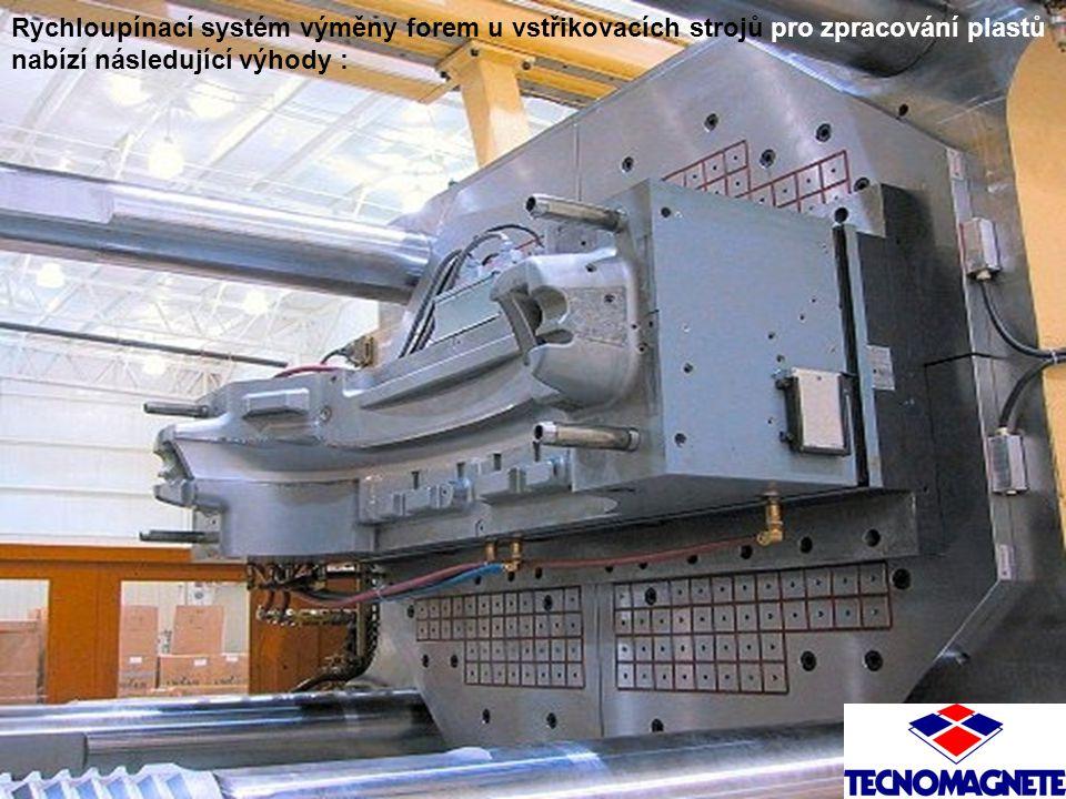 Rychloupínací systém výměny forem u vstřikovacích strojů pro zpracování plastů nabízí následující výhody :