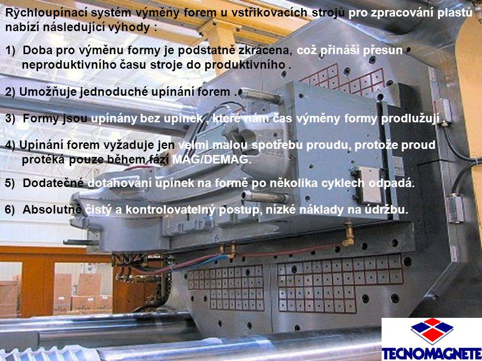 Rychloupínací systém výměny forem u vstřikovacích strojů pro zpracování plastů nabízí následující výhody : 1) Doba pro výměnu formy je podstatně zkrác