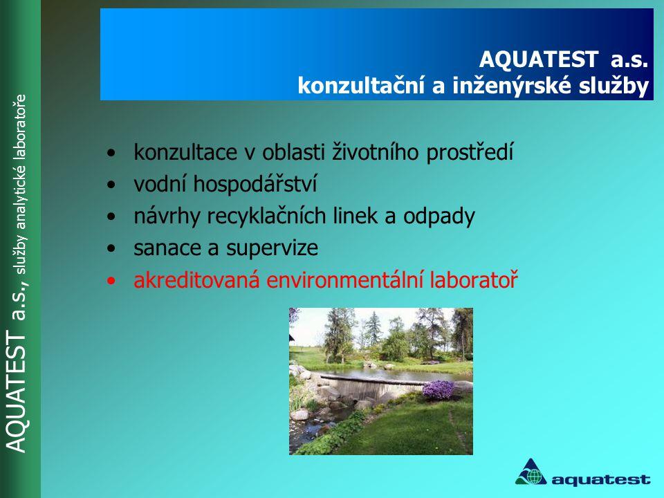 AQUATEST a.s., služby analytické laboratoře AQUATEST a.s. konzultační a inženýrské služby •konzultace v oblasti životního prostředí •vodní hospodářstv