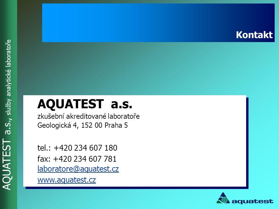 AQUATEST a.s., služby analytické laboratoře AQUATEST a.s. zkušební akreditované laboratoře Geologická 4, 152 00 Praha 5 tel.: +420 234 607 180 fax: +4