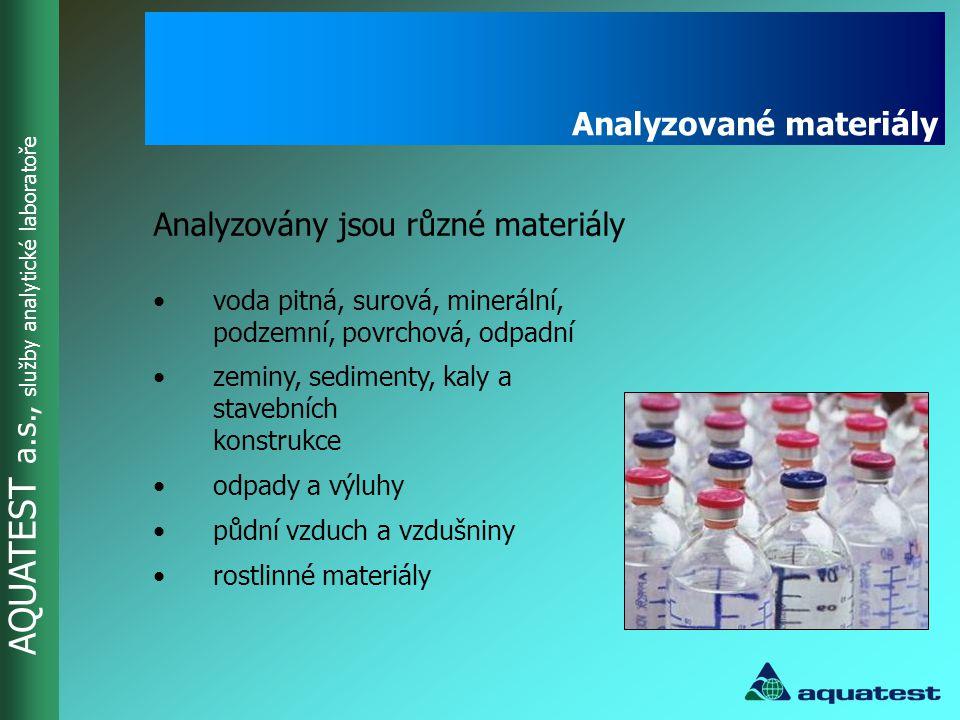 AQUATEST a.s., služby analytické laboratoře •dle vyhlášky 252/2004 Sb.