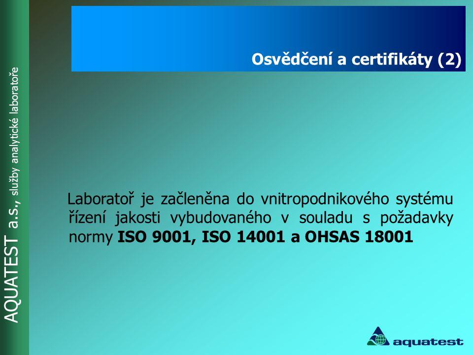 AQUATEST a.s., služby analytické laboratoře AQUATEST a.s.