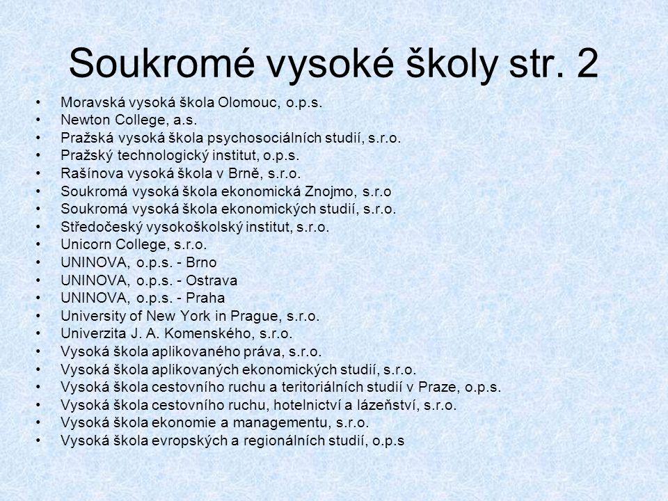 Soukromé vysoké školy str. 2 •Moravská vysoká škola Olomouc, o.p.s. •Newton College, a.s. •Pražská vysoká škola psychosociálních studií, s.r.o. •Pražs