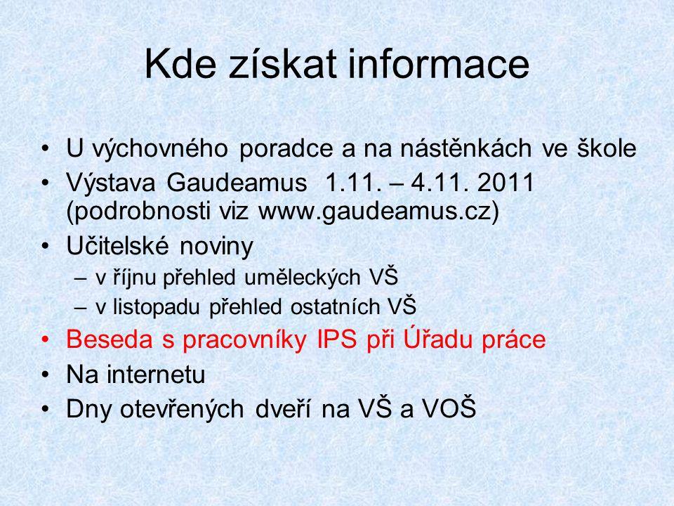 Kde získat informace •U výchovného poradce a na nástěnkách ve škole •Výstava Gaudeamus 1.11. – 4.11. 2011 (podrobnosti viz www.gaudeamus.cz) •Učitelsk