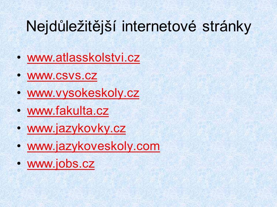 Nejdůležitější internetové stránky •www.atlasskolstvi.czwww.atlasskolstvi.cz •www.csvs.czwww.csvs.cz •www.vysokeskoly.czwww.vysokeskoly.cz •www.fakult