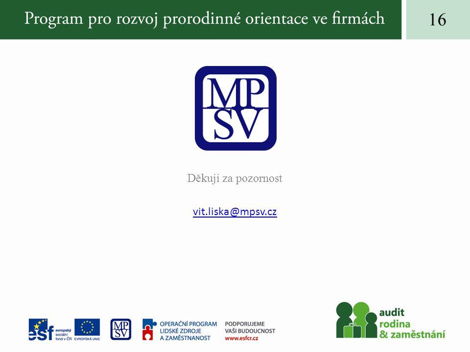 Děkuji za pozornost vit.liska@mpsv.cz 16