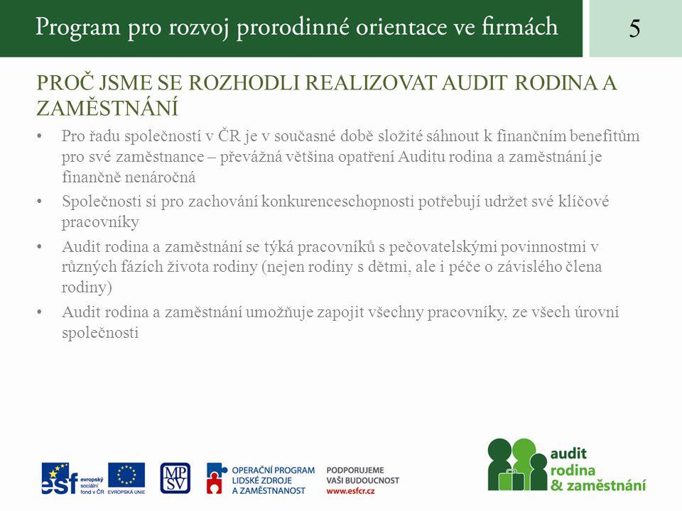 PROČ JSME SE ROZHODLI REALIZOVAT AUDIT RODINA A ZAMĚSTNÁNÍ •Pro řadu společností v ČR je v současné době složité sáhnout k finančním benefitům pro své