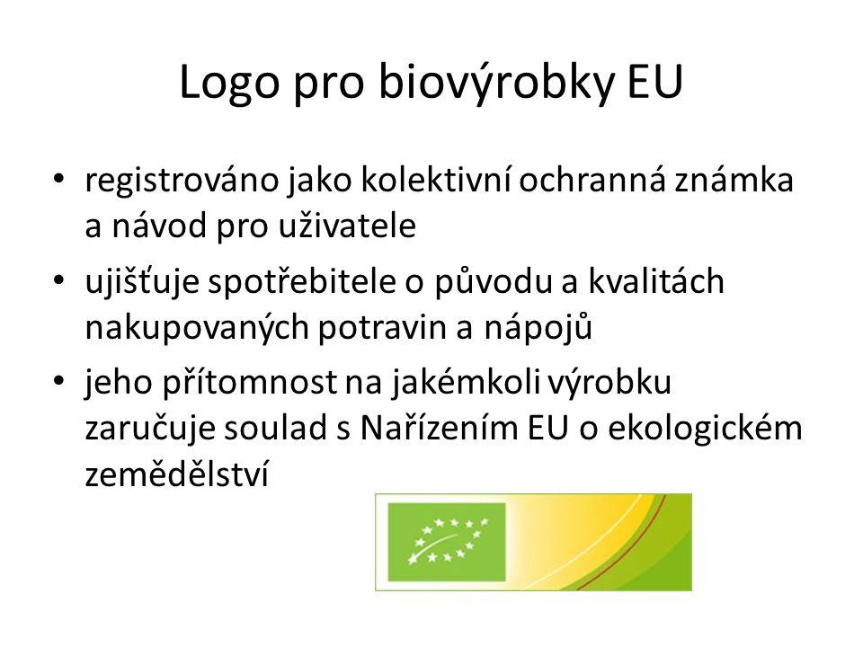 Logo pro biovýrobky EU • registrováno jako kolektivní ochranná známka a návod pro uživatele • ujišťuje spotřebitele o původu a kvalitách nakupovaných potravin a nápojů • jeho přítomnost na jakémkoli výrobku zaručuje soulad s Nařízením EU o ekologickém zemědělství