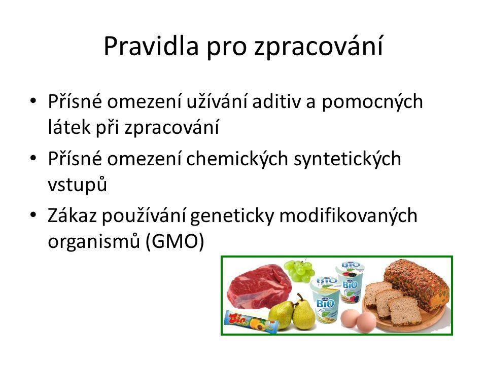 Pravidla pro zpracování • Přísné omezení užívání aditiv a pomocných látek při zpracování • Přísné omezení chemických syntetických vstupů • Zákaz používání geneticky modifikovaných organismů (GMO)
