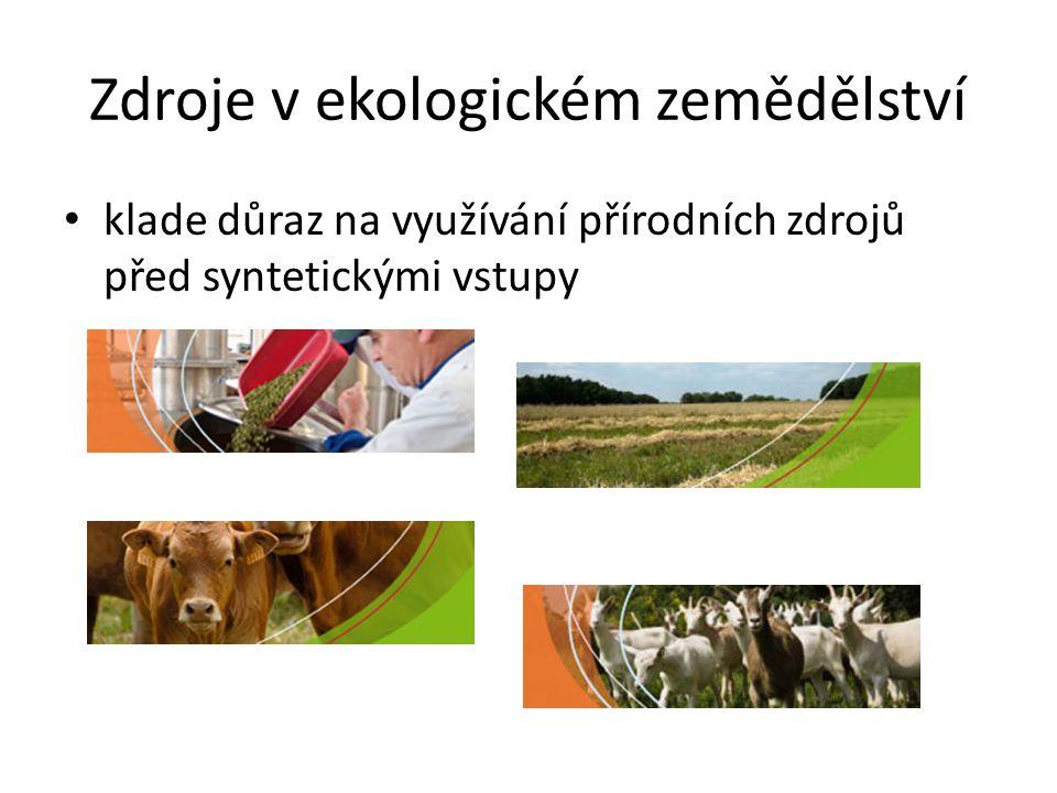 Zdroje v ekologickém zemědělství • klade důraz na využívání přírodních zdrojů před syntetickými vstupy