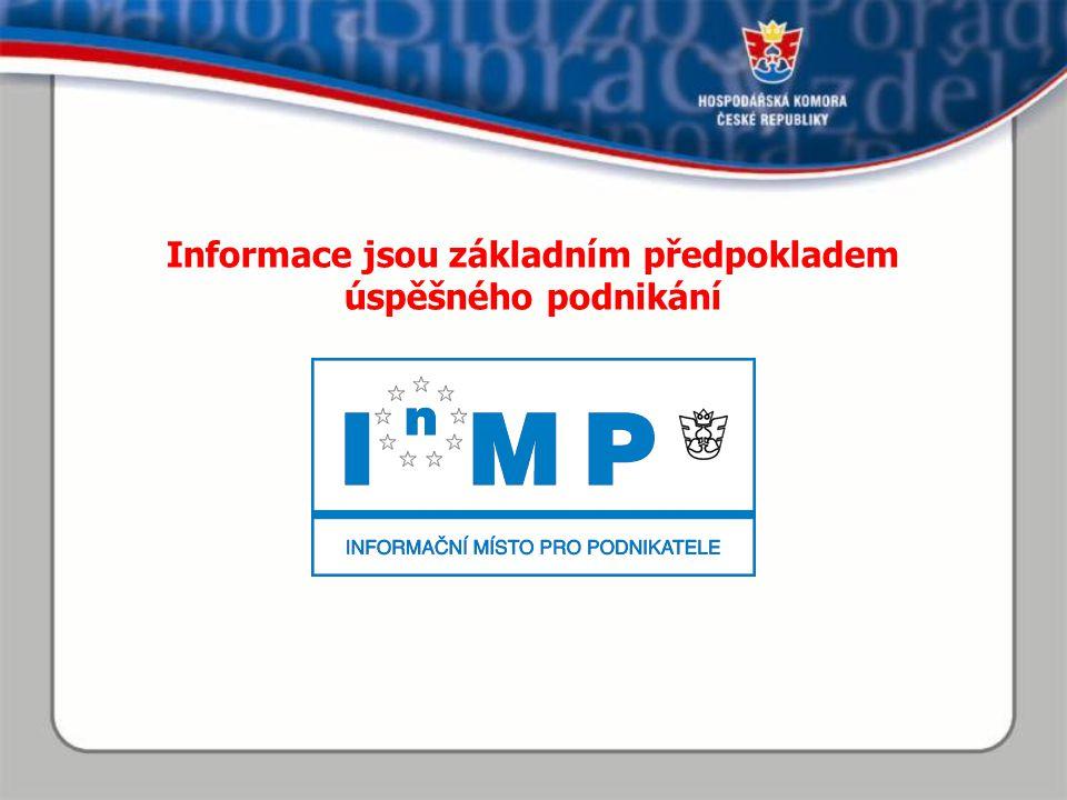 Informační místa pro podnikatele Síť kontaktních míst pro poskytování služeb pro podnikatele Síť center pro vyřizování podnikatelských formalit Síť informačních pracovišť pro podnikatelskou veřejnost Jeden z pilířů aktivit státu na podporu malého a středního podnikání v oblasti přístupu ke strukturovaným informacím Distribuční kanál orgánů veřejné správy pro všechny produkty na podporu malého a středního podnikání financovaných z veřejných rozpočtů