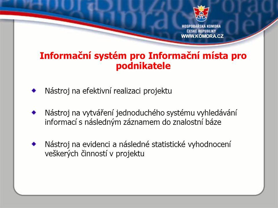 Nástroj na efektivní realizaci projektu Nástroj na vytváření jednoduchého systému vyhledávání informací s následným záznamem do znalostní báze Nástroj na evidenci a následné statistické vyhodnocení veškerých činností v projektu Informační systém pro Informační místa pro podnikatele WWW.KOMORA.CZ