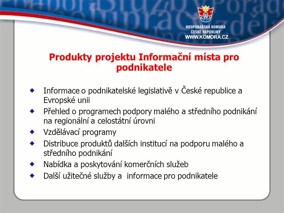 Informace o podnikatelské legislativě v České republice a Evropské unii Přehled o programech podpory malého a středního podnikání na regionální a celostátní úrovni Vzdělávací programy Distribuce produktů dalších institucí na podporu malého a středního podnikání Nabídka a poskytování komerčních služeb Další užitečné služby a informace pro podnikatele Produkty projektu Informační místa pro podnikatele WWW.KOMORA.CZ